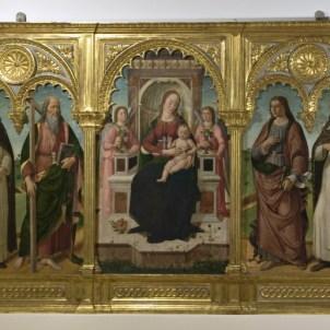 Biagio d'Antonio da Firenze (Firenze, 1446 ca. - documentato fino al 1510), Madonna con il Bambino, angeli e i Santi Domenico, Andrea, Giovanni Evangelista e Tommaso d'Aquino