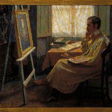 Domenico Baccarini (Faenza, 1882 - 1907), Ritratto di Odoardo Neri nello studio