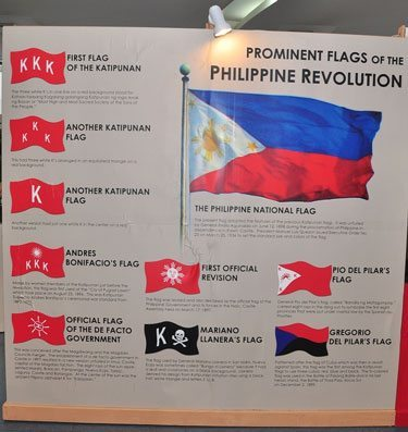 During the Philippine Revolution, various flags were used by the Katipunan secret society. These shown in the exhibit flags are included in the evolution of the Philippine Flag and are called Prominent Flags of the Philippine Revolution.