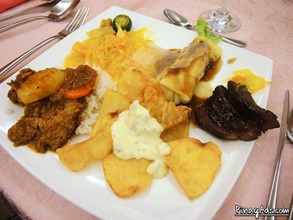 Beef Mechado, Fish Fillet with Tartar Sauce, Fresh Lumpiang Ubod, Sotanghon Guisado, and Pork Spareribs with Aristocrat's famous peanut based java sauce!!
