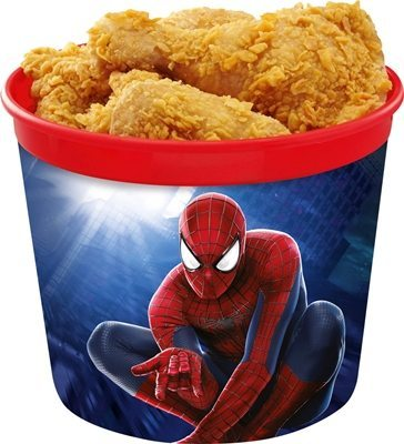 The Chickenjoy Bucket Treats comes in a special reusable bucket featuring Spider-Man.
