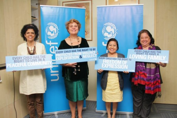 Unicef Philippines is holding two events this year to commemorate Typhoon Yolanda and the 25th anniversary of the Convention on the Rights of the Child (CRC). In photo are Lotta Sylwander, UNICEF Representative for the Philippines (2nd from left), Zafrin Chowdhury, Unicef Chief for Communications and Private Fundaising and Partnership (1st from left), Grace Alejandrino, OIC Deputy Director, Council on the Welfare of Children (3rd from left) and Normina Mojica, Planning Officer for CWC.