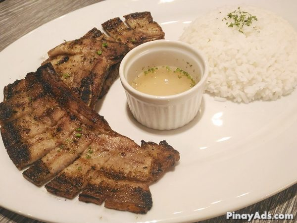 Specially seasoned pork belly grilled to prefection served with spiced vinegar. PHP 205.00