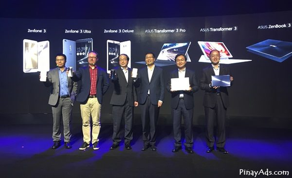 Top executives of Asus Global and Asus Philippines unveil the new Asus ZenFone 3 smartphones and Asus ZenBook and Asus Transformer 3 during the Zenvolution event. (L-R) Asus Head of Product Management Alvin Chou; Asus Head of Mobile Marketing Erik Hermanson; Asus Corporate Vice President Eric Chen; Asus Global CEO Jerry Shen, Asus Regional Director for East Asia Kevin Lin; and Asus Philippines Country Manager George Su.