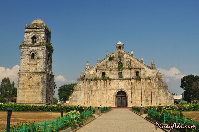 The façade and bell tower of Paoay Church