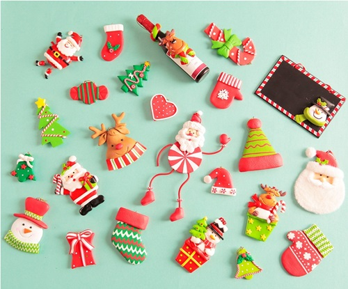 String up these Christmas clay ornaments with a red ribbon.