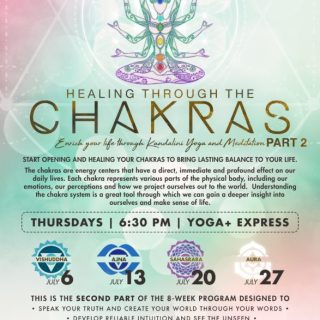 Healing through Chakras Four-week Yoga Series in July at Yoga+Express