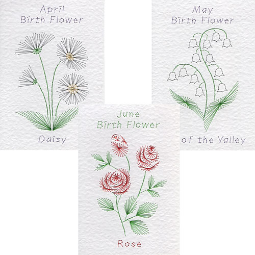 April, May, June birth flower patterns added at Form-A-Lines