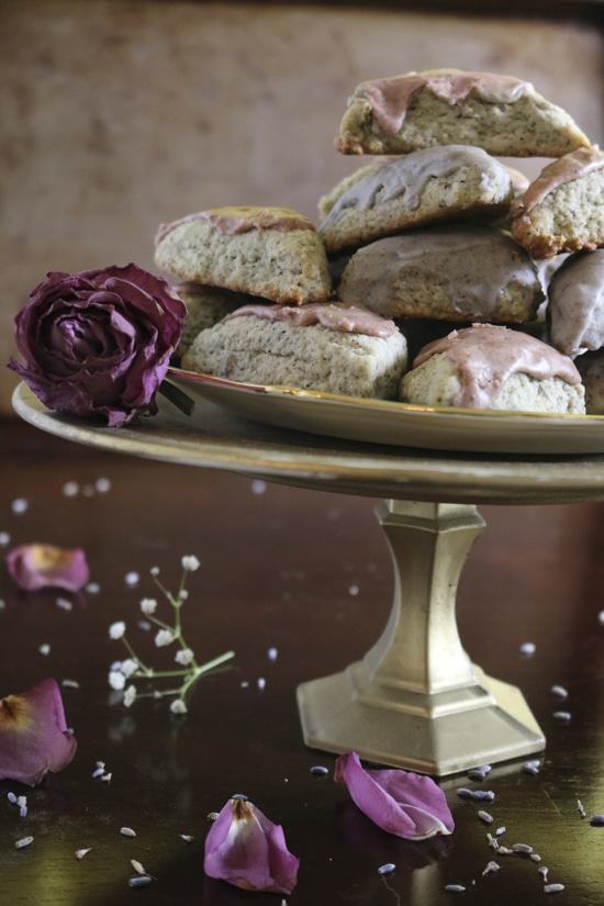Mini Earl Grey Scones with Rose and Lavender Icings