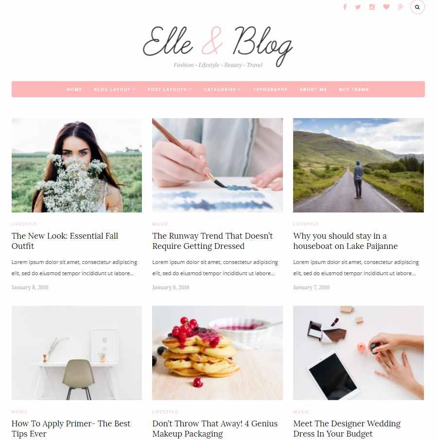 Elle & Blog - WordPress theme