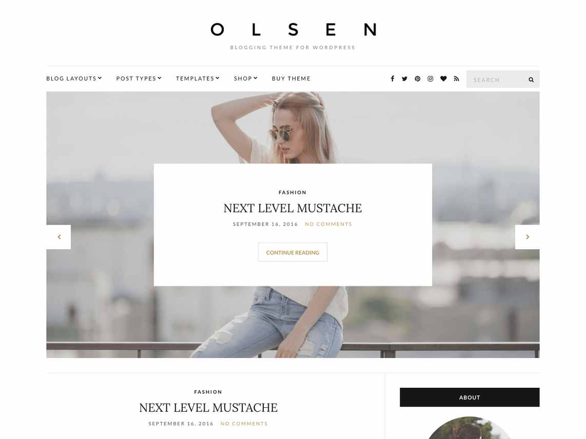 Olsen Light - free WordPress theme