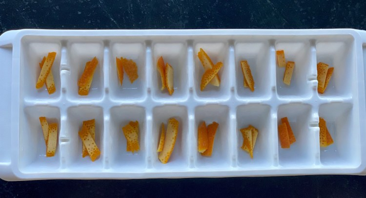 Orange peel ice cubes for Old Fashioned