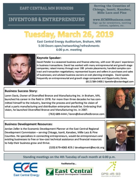 Flyer with agenda for Tuesday, March 26th I&E Club Meeting, Braham.