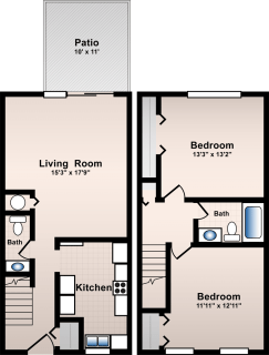 2 Bed / 1½ Bath / 954 sq ft / Availability: Please Call / Deposit: $300 / Rent: $665