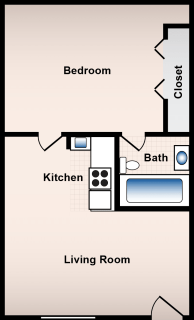 1 Bed / 1 Bath / 395 sq ft / Availability: Please Call / Deposit: $300 / Rent: $495
