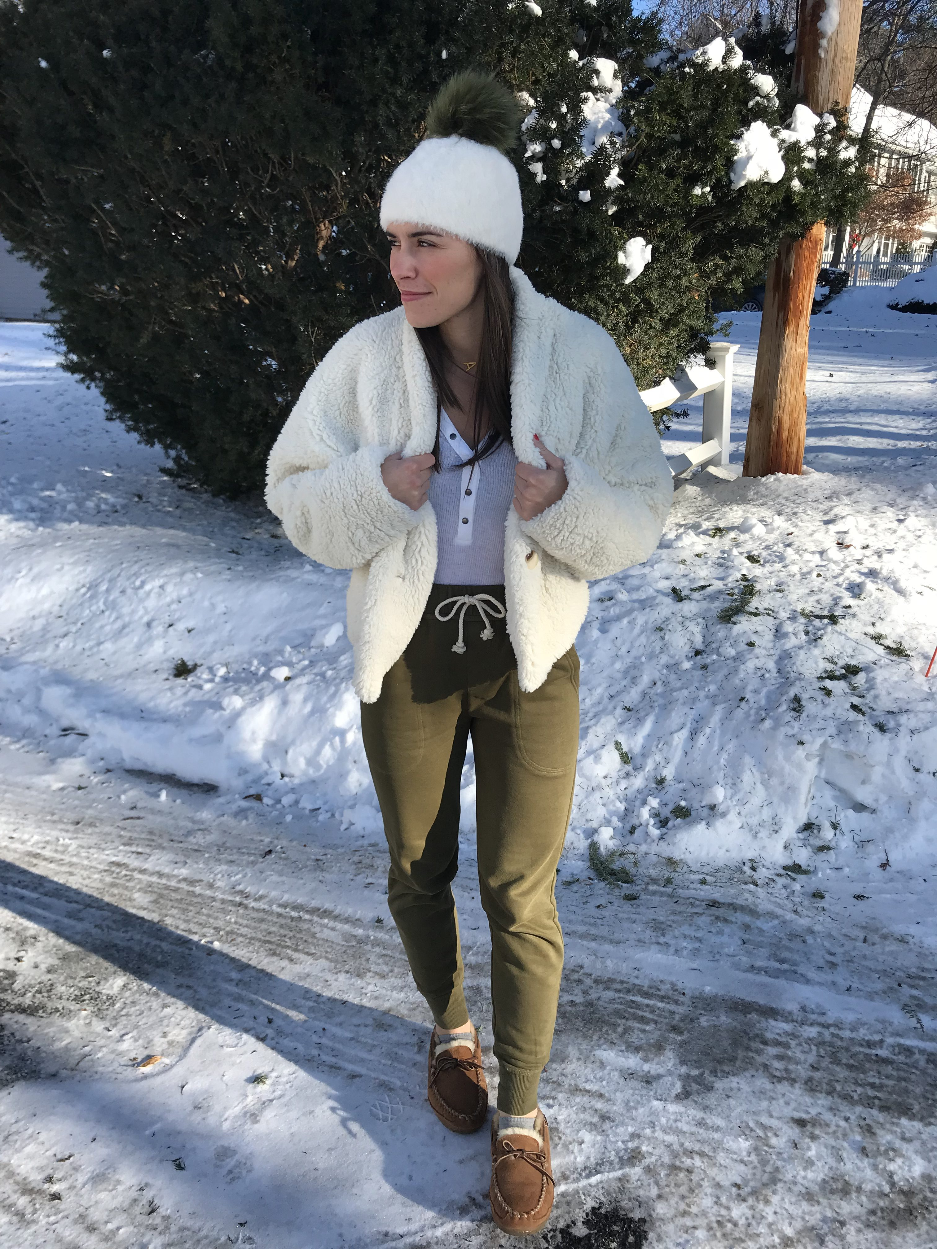 comfy, joggers, lounge look, white sherpa jacket