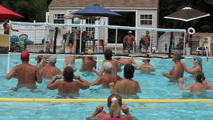 Pine Tree Associates - summer water volleyball game.