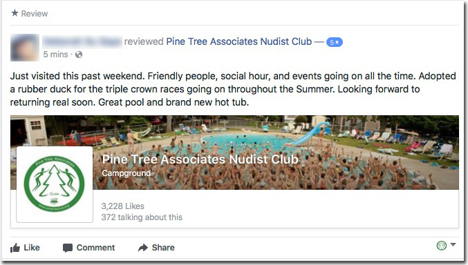 Reviews: Pine Tree Associates Nudist Club - Facebook review #1