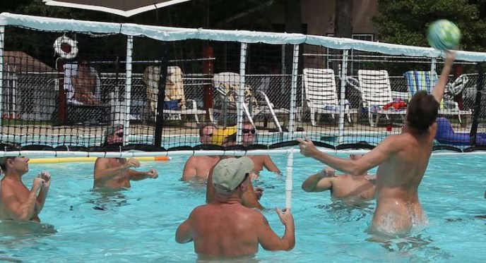Water volleyball at Pine Tree Nudist Club.