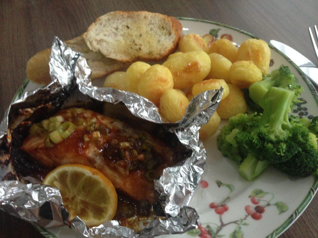 Zalm teriyaki pakketje uit de oven recept