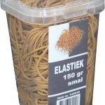 Elastiek smal verpakt in plastic pot 150 gram