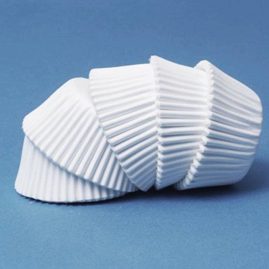 Papieren mini cupcake vormpjes wit, set van 100