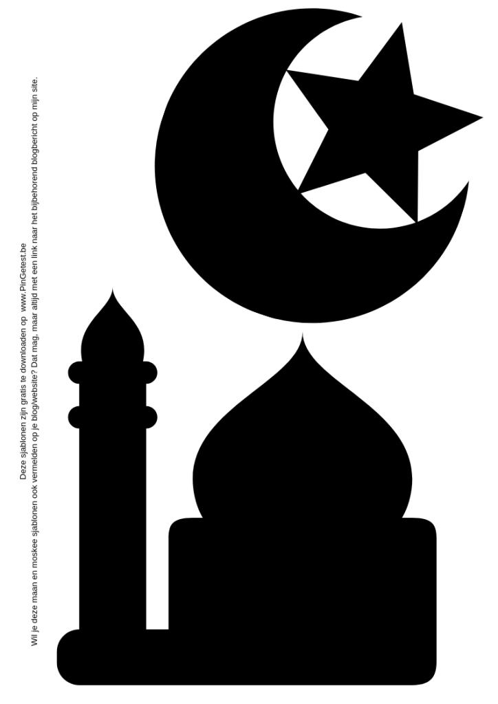 Ramadan schilderij knutselen met kinderen - maan en ster - moskee - sjabloon
