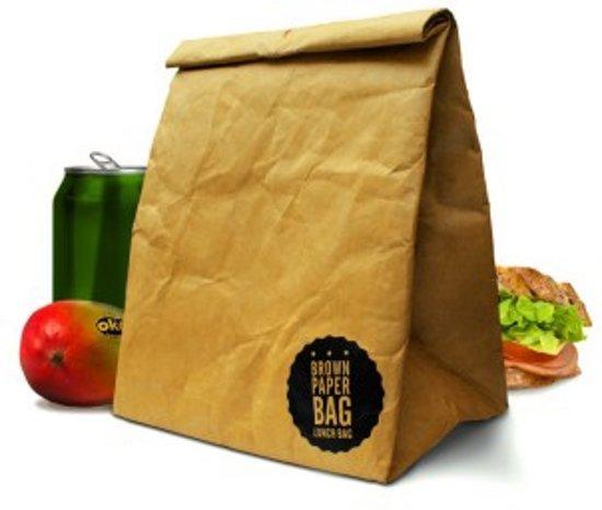 Bruine papieren lunchzak herbruikbaar