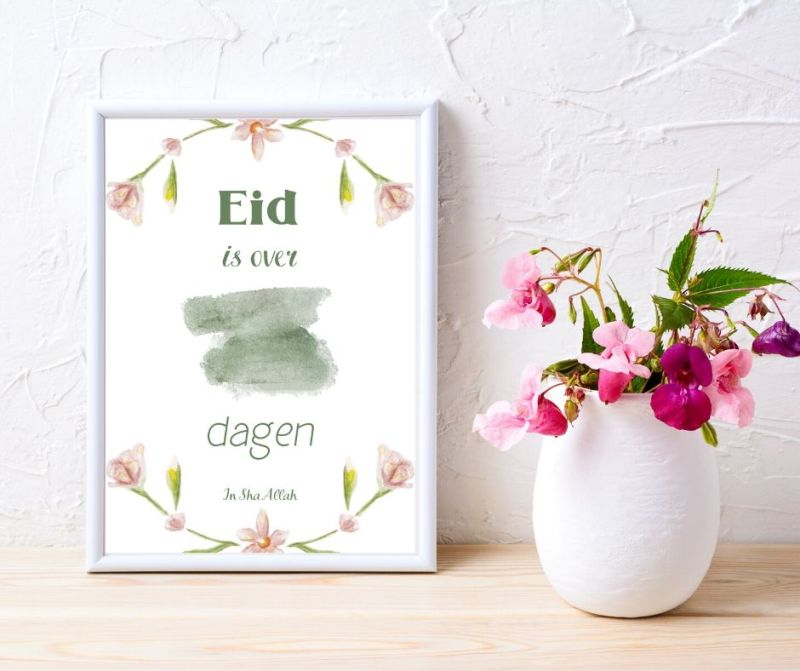 Eid aftelkalender poster printable A4 afdrukken printen instant download Flower