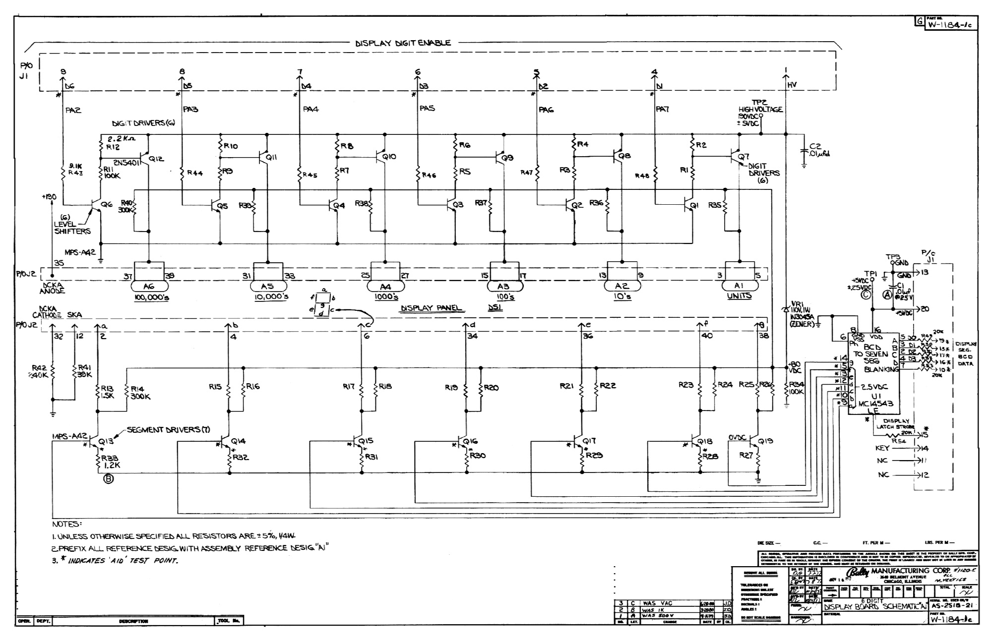 Classic Bally Stern Display Schematics