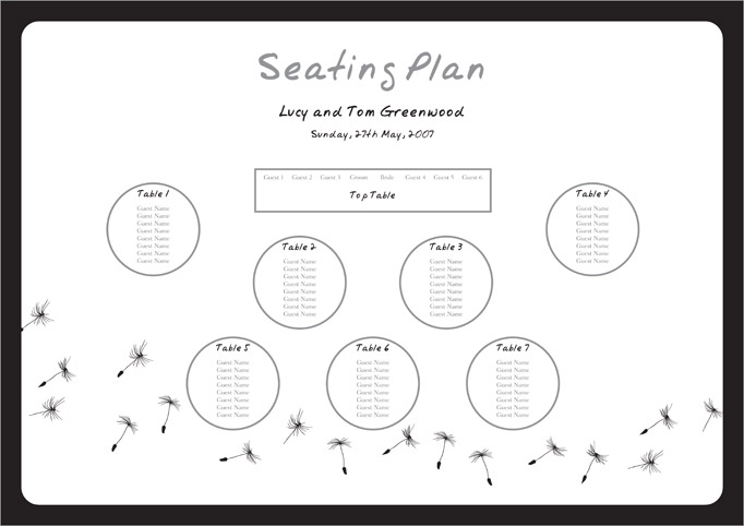 Wedding Table Template. Simple Square Seating Chart For Which Uses
