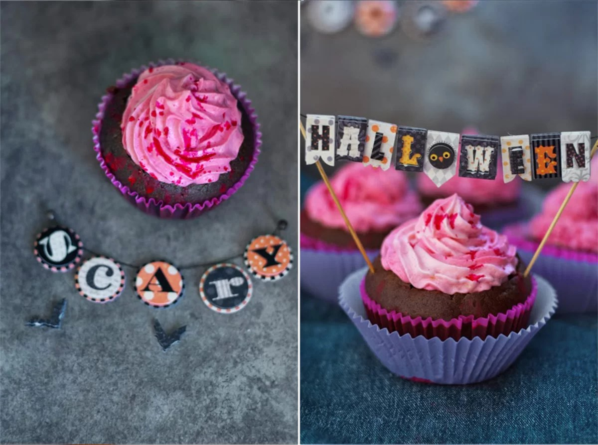 Krwawe czekoladowe muffinki na Halloween