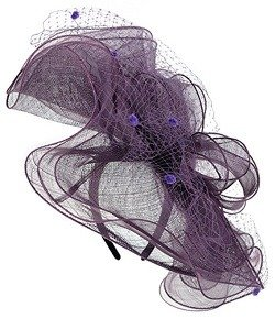 NYFASHION101 Wavy Contour Layered Sinamay Mesh Net Fascinator Headband - Lilac