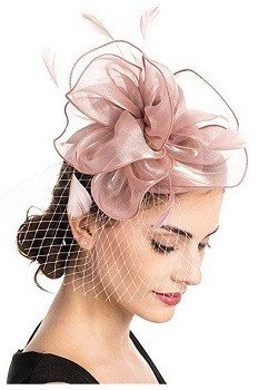 SAFERIN Fascinator Hat Feather Mesh Net Veil Party Hat Flower Derby Hat with Clip and Hairband for Women Rose Pink