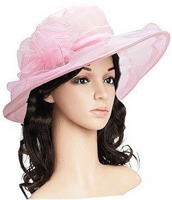 qnprt Women's Kentucky Derby Hat,Summer Fascinator Flowers Wide Brim Organza Church British Tea Party Wedding Dress Cap Pink