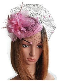 Coolwife Fascinator Hats Pillbox Hat British Bowler Hat Flower Veil Wedding Hat Tea Party Hat Pink