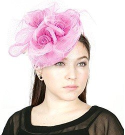 NYFASHION101 Cocktail Fashion Sinamay Fascinator Hat Flower Design & Net S102651, Light Pink