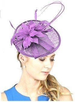 NYfashion101 Elegant Feather Floral Accent Sinamay Fascinator Headband (Lilac)