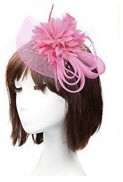Anita Women's fascinators Small hairpin feather hat Pink