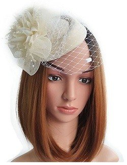 Fascinator Hats Pillbox Hat British Bowler Hat Feather Flower Veil Wedding Hat (Beige )