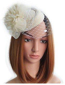Fascinator Hats Pillbox Hat British Bowler Hat Feather Flower Veil Wedding Hat (Beige )