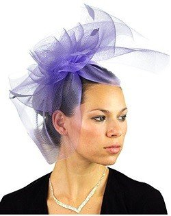 NYFASHION101 Elegant Formal Curlicue Center Sinamay Fascinator Headband - Lilac