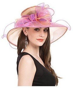 SAFERIN Women's Organza Church Kentucky Derby Fascinator Bridal Tea Party Wedding Hat pink big bow knot