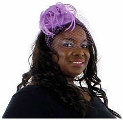 Charisma Sinamay Fascinator Cocktail Hat with Netting, Lilac