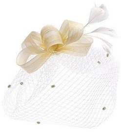 Urban CoCo Women's Bow Feather Net and Veil Fascinator Cocktail Party Hair Clip Hat (Beige)
