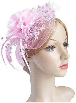 Fascinators with Veil Flower Cocktail Tea Party Easter Hats Derby Headwear for Women (A-Pink)