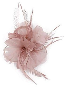 CHUANGLI Charming Feather Light Pink Fascinator Hair Clip Cocktail Derby Hat Headdress