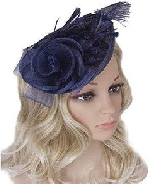 Vijiv Navy Blue Women Vintage Derby Fascinator Hat Pillbox Headband Feather Cocktail Tea Party