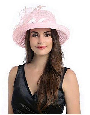 Dantiya Lady's Organza Wide Brim Bowler Hat Kentucky Derby Church Dress Sun Hat Light Pink