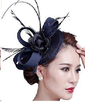 Fascigirl Sinamay Navy Blue Fascinator Hat Feather Party Pillbox Hat Flower Derby Hat for Women
